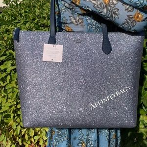 Kate spade large joeley dawn blue glitter bag NWT
